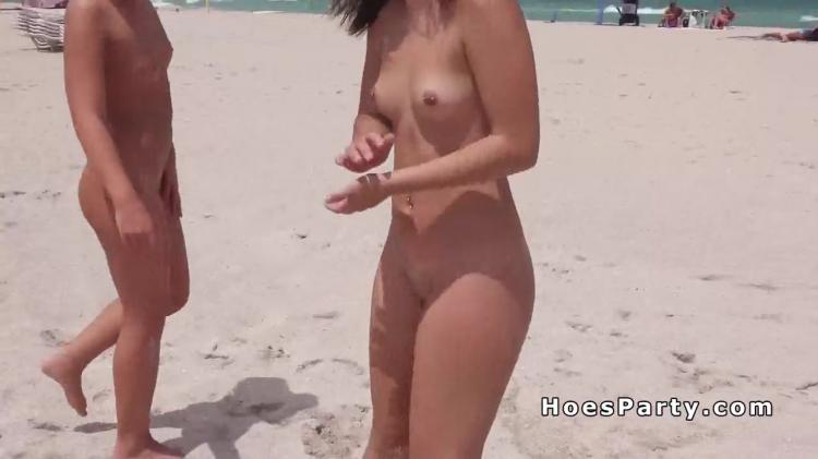 Two nude amateur babes at beach
